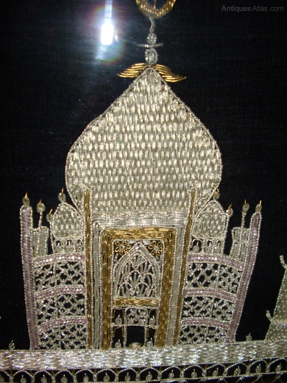 Antiques Atlas Taj Mahal Embroidery In Gold Amp Silver Thread