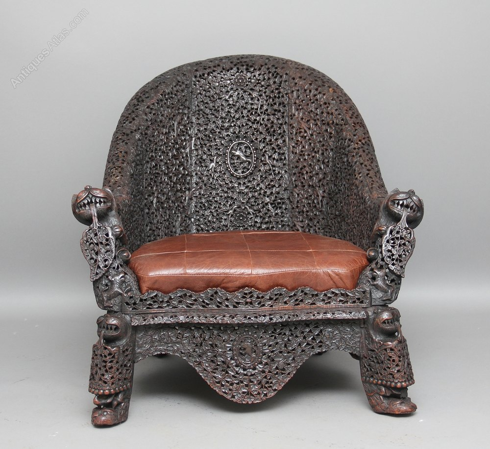 This pair of large burmese arm chairs is no longer available - Carved Burmese Chair Antique Armchairs Carved Burmese