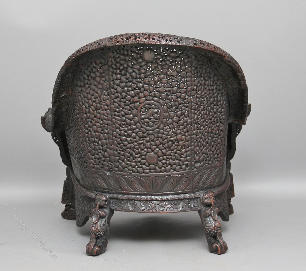 This pair of large burmese arm chairs is no longer available - Carved Burmese Chair Antique Armchairs Carved Burmese Chair