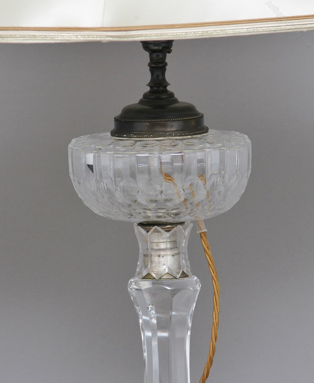 Antiques Atlas - Early 20th Century Crystal Glass Table Lamp