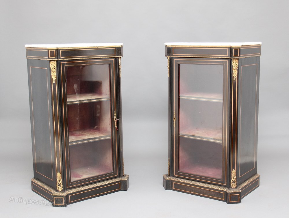 Pair 19th century ebonised cabinets antiques atlas for 19th century kitchen cabinets