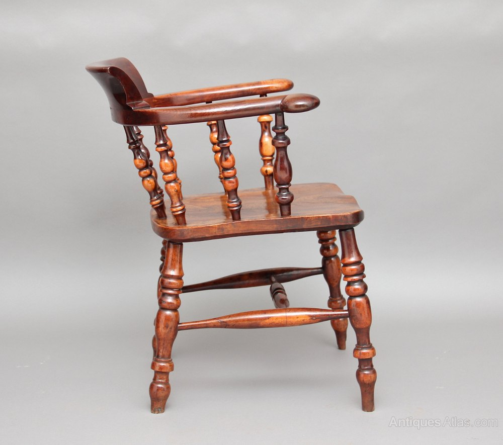 Wood Captains Chair ~ Yew wood captains chair antiques atlas