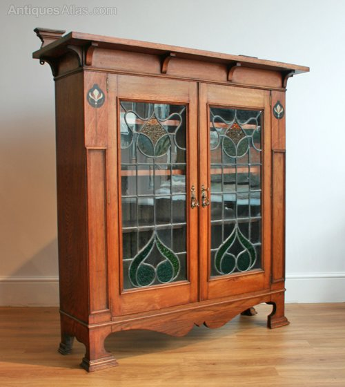 an arts crafts inlaid oak bookcase antiques atlas. Black Bedroom Furniture Sets. Home Design Ideas