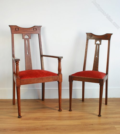 Six arts crafts oak dining chairs antiques atlas - Arts and crafts dining room furniture ...