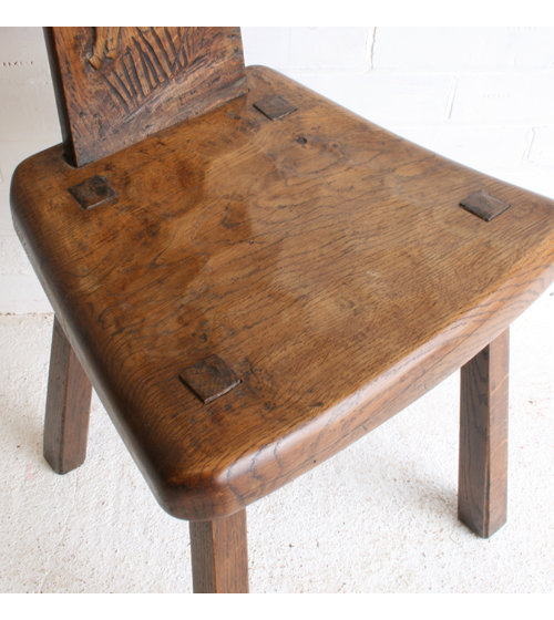 Antiques atlas two mouseman style carved oak hall chairs