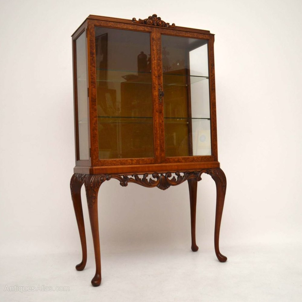 Antique burr walnut display cabinet antiques atlas for Antique display cabinet