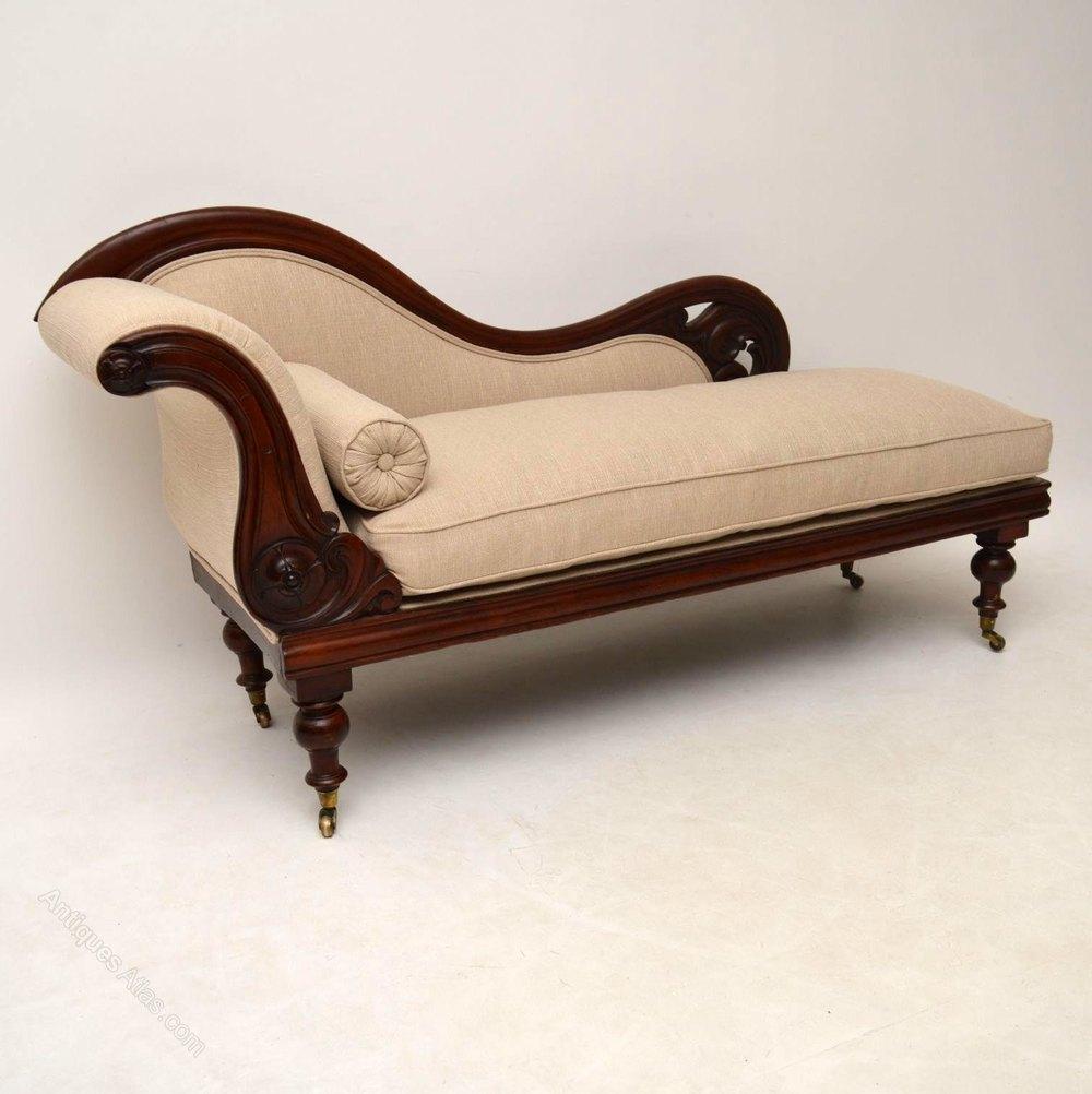 Antique william iv mahogany chaise lounge antiques atlas for Antique wooden chaise lounge