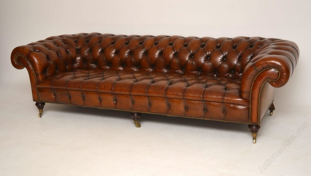 large antique victorian leather chesterfield sofa antiques atlas. Black Bedroom Furniture Sets. Home Design Ideas