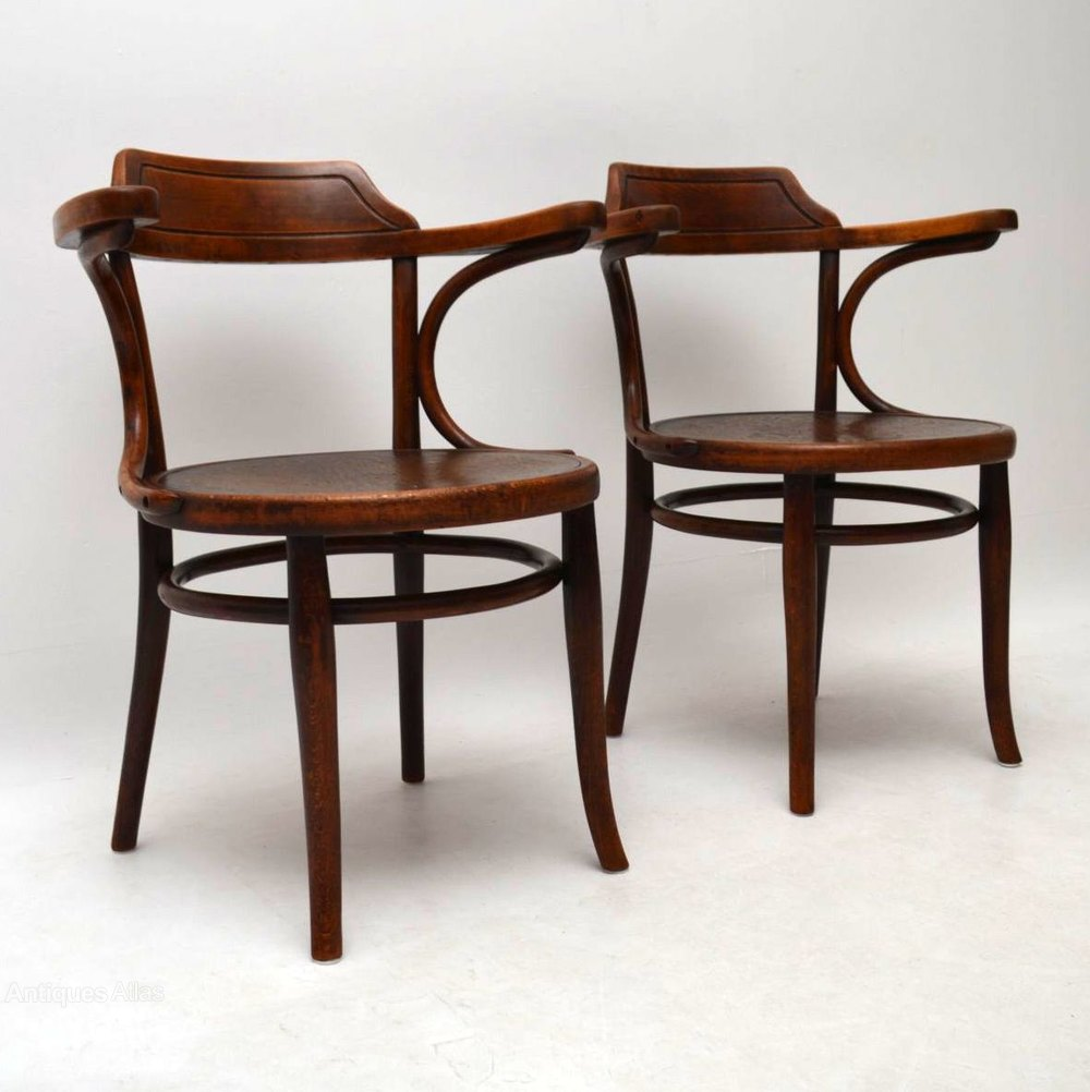 Pair Of Antique Bentwood Armchairs By Thonet - Antiques Atlas