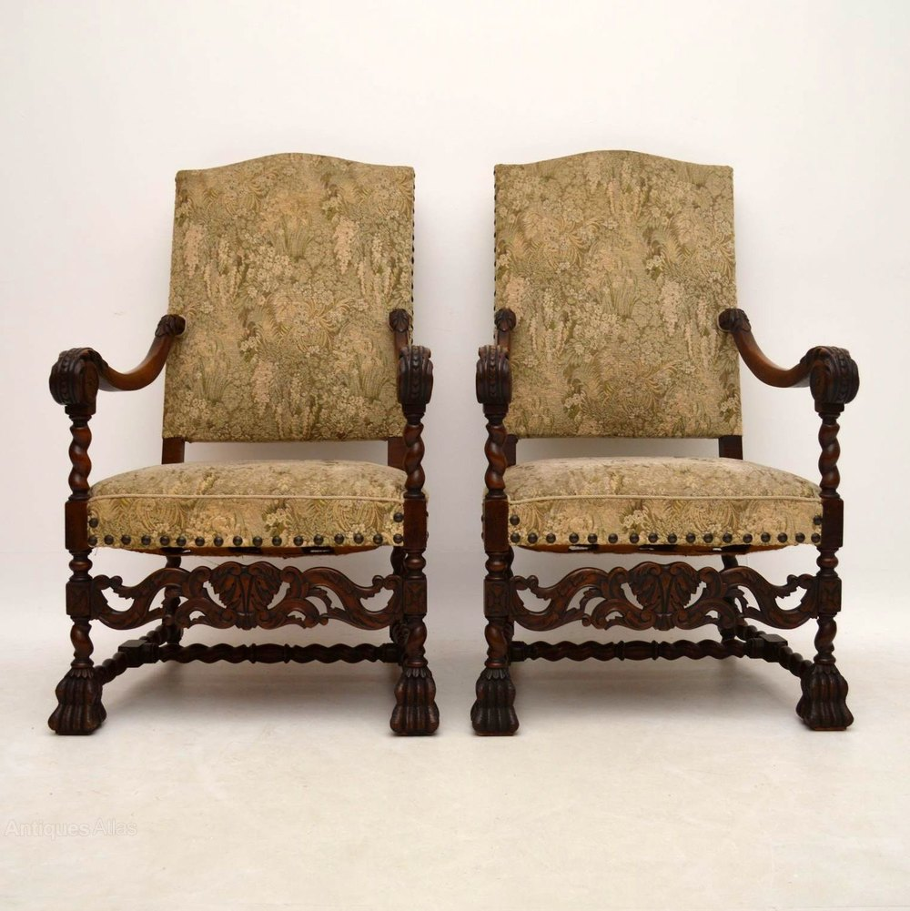 Pair Of Carolean Carved Upholstered Armchairs Antiques Atlas