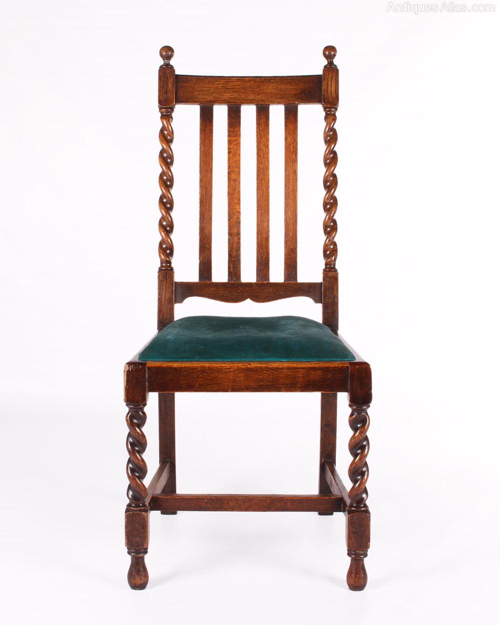 Barley Twist Chairs For Sale Set Of Six 4 2 Solid Oak Barley Twist Dining Chairs Beautiful