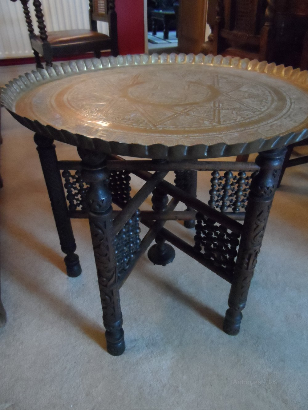 A benares brass topped folding occasional table antiques for Occasional tables