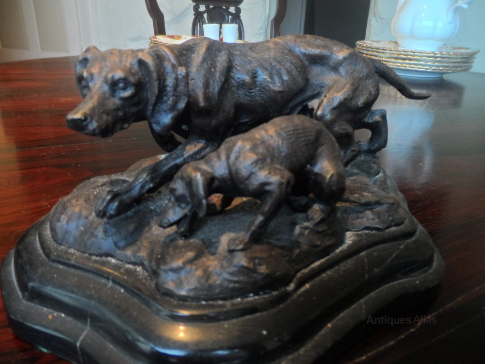 Antiques Atlas Bronze Sculpture Of A Dog And His Puppy