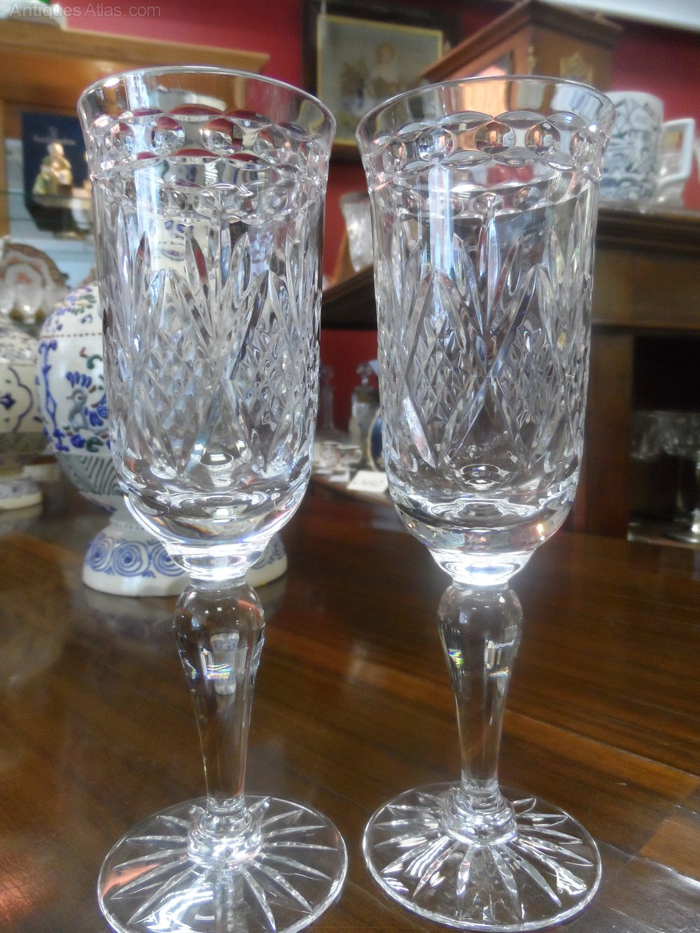 Antiques Atlas Pair Of Crystal Long Stem Champagne Glasses