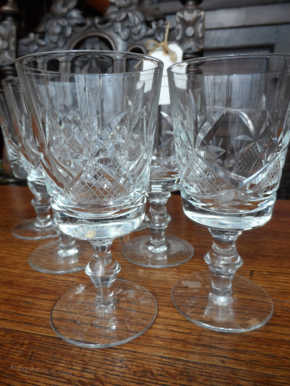Antique Etched Crystal Wine Glasses