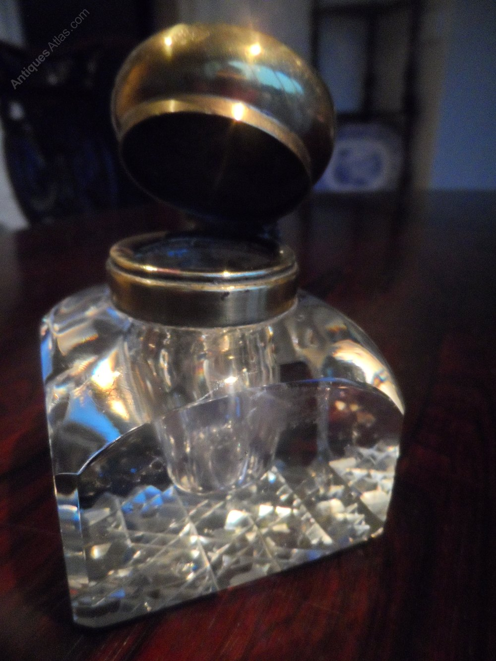 Antiques Atlas Victorian Brass Topped Glass Inkwell