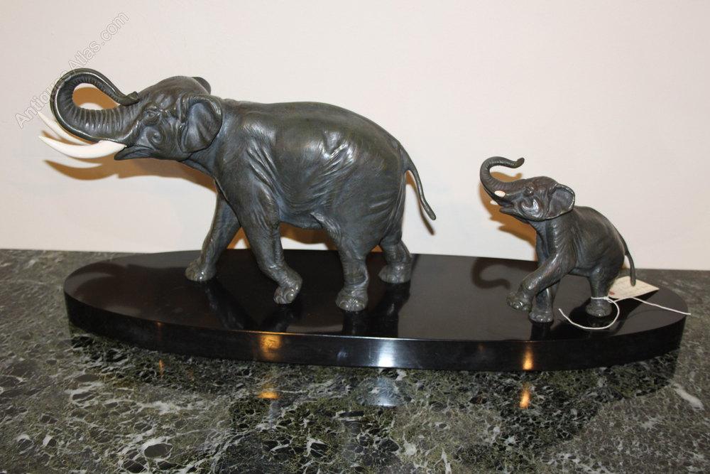 antiques atlas art deco bronze elephants. Black Bedroom Furniture Sets. Home Design Ideas