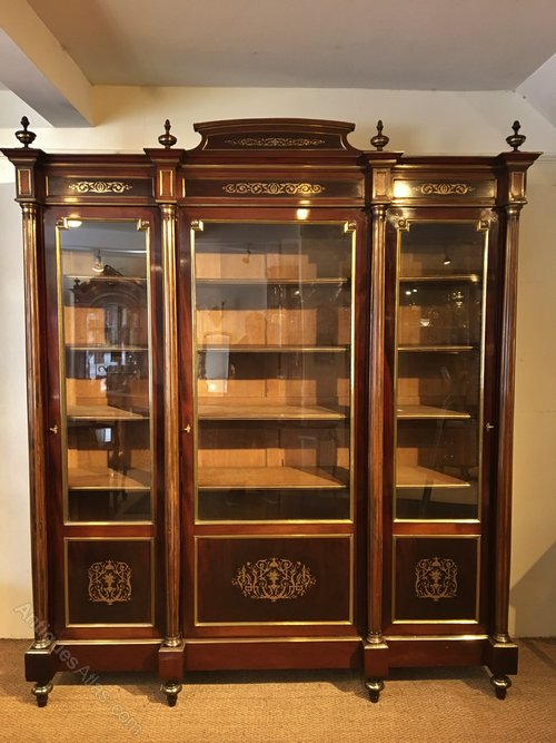 French mahogany display bookcase cabinet c 1880 for 1880 kitchen cabinets