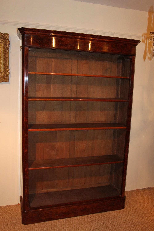 large mahogany open bookcase