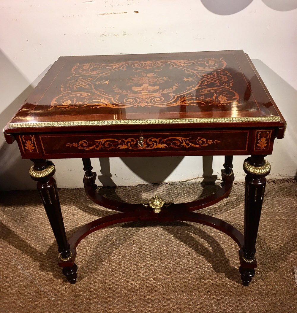 Napoleon iii inlaid sofa table antiques atlas for Sofa table vintage