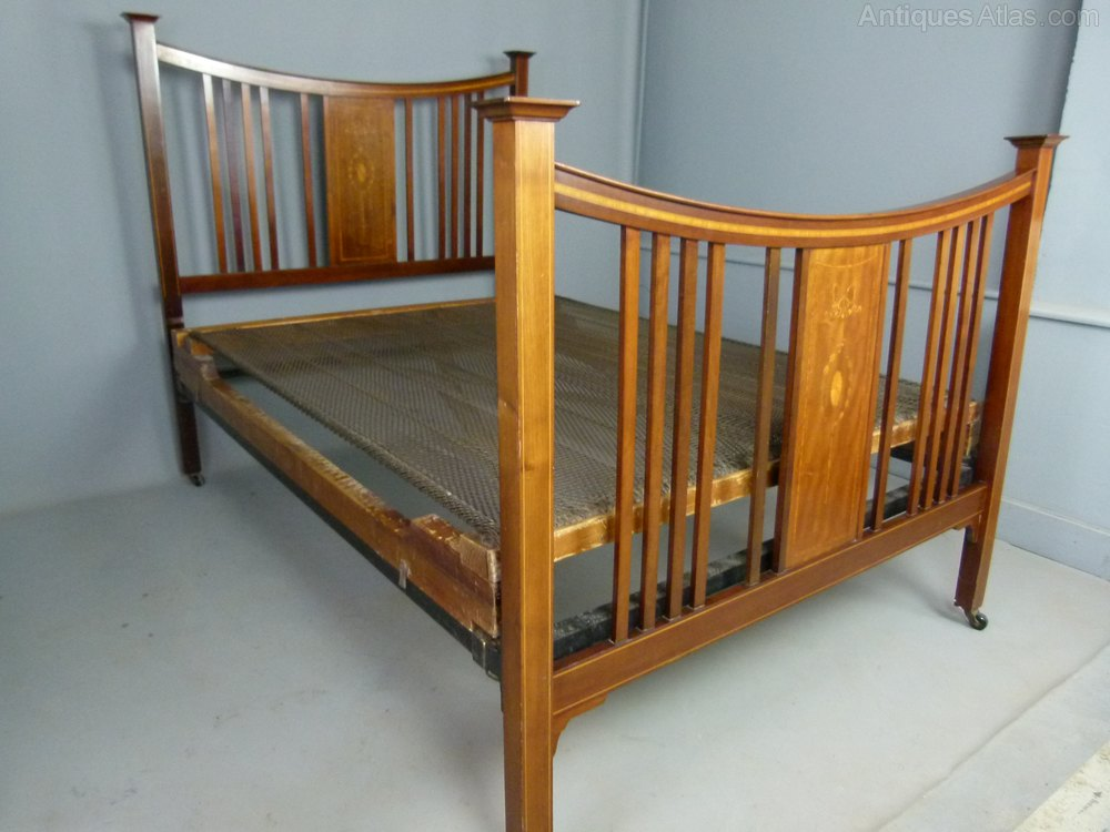 Antique Iron Bed Frame With Springs : Edwardian mahogany double bed spring base antiques atlas