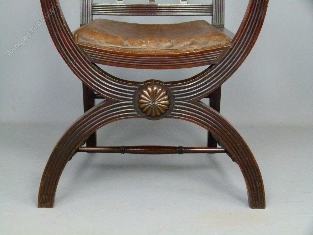 Victorian Mahogany X Frame Arm Chair Antiques Atlas