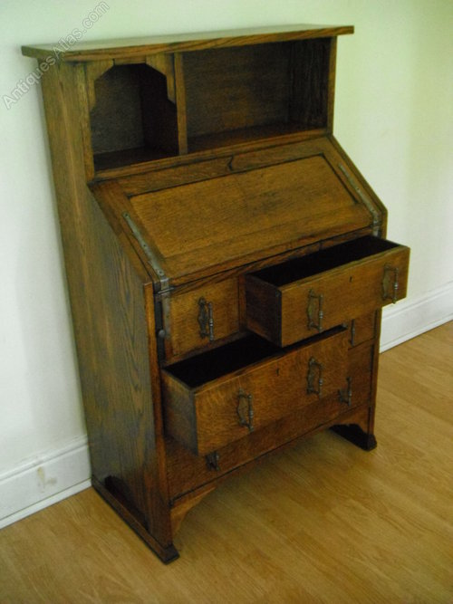 Arts crafts bureau made by shapland petter antiques for Arts and crafts furniture makers