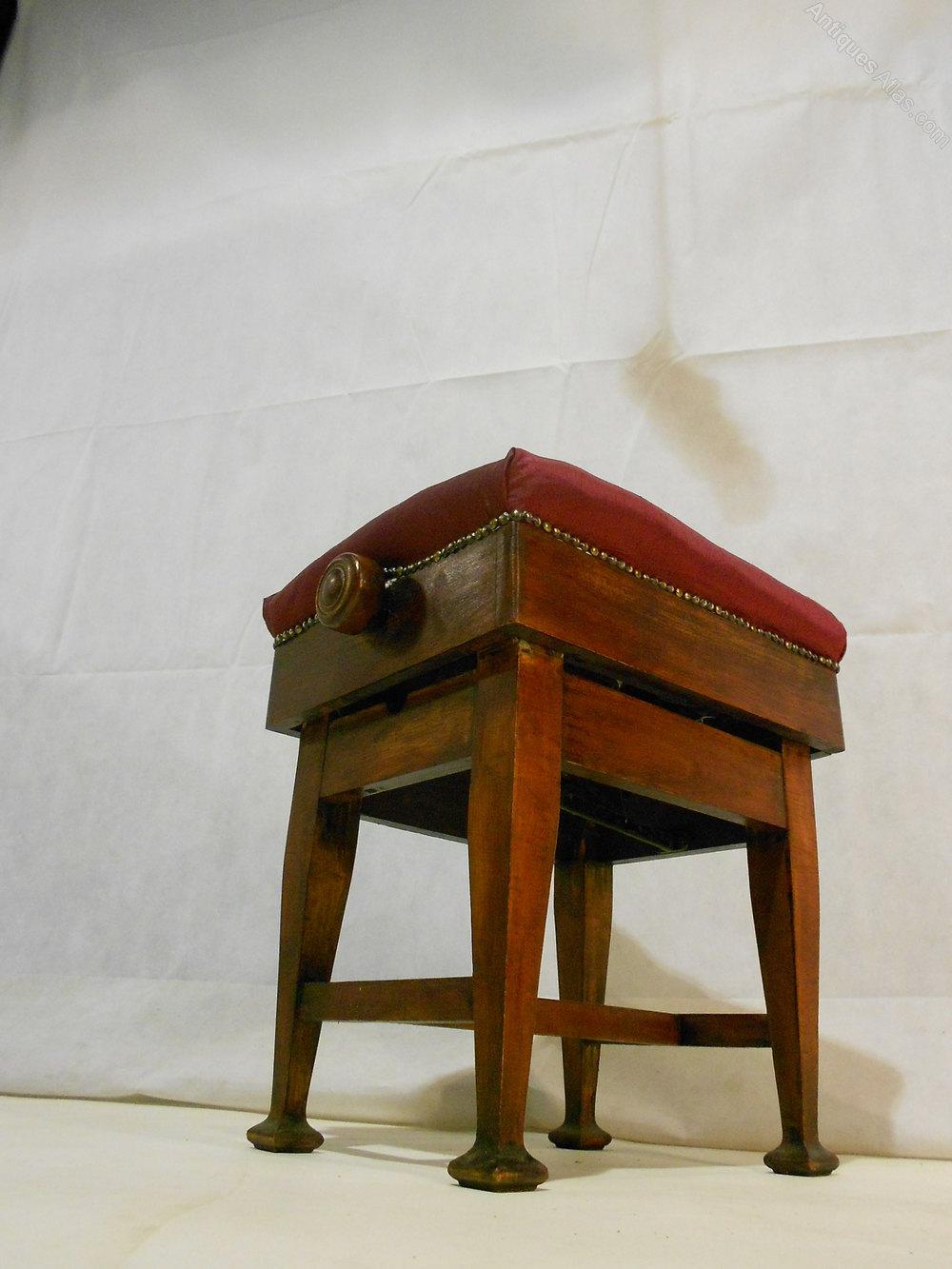Arts Amp Crafts Adjustable Mahogany Piano Stool Antiques Atlas