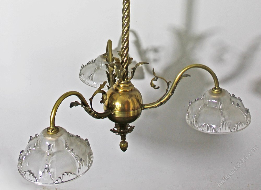 antiques atlas 19thc brass 3 branch chandelier. Black Bedroom Furniture Sets. Home Design Ideas