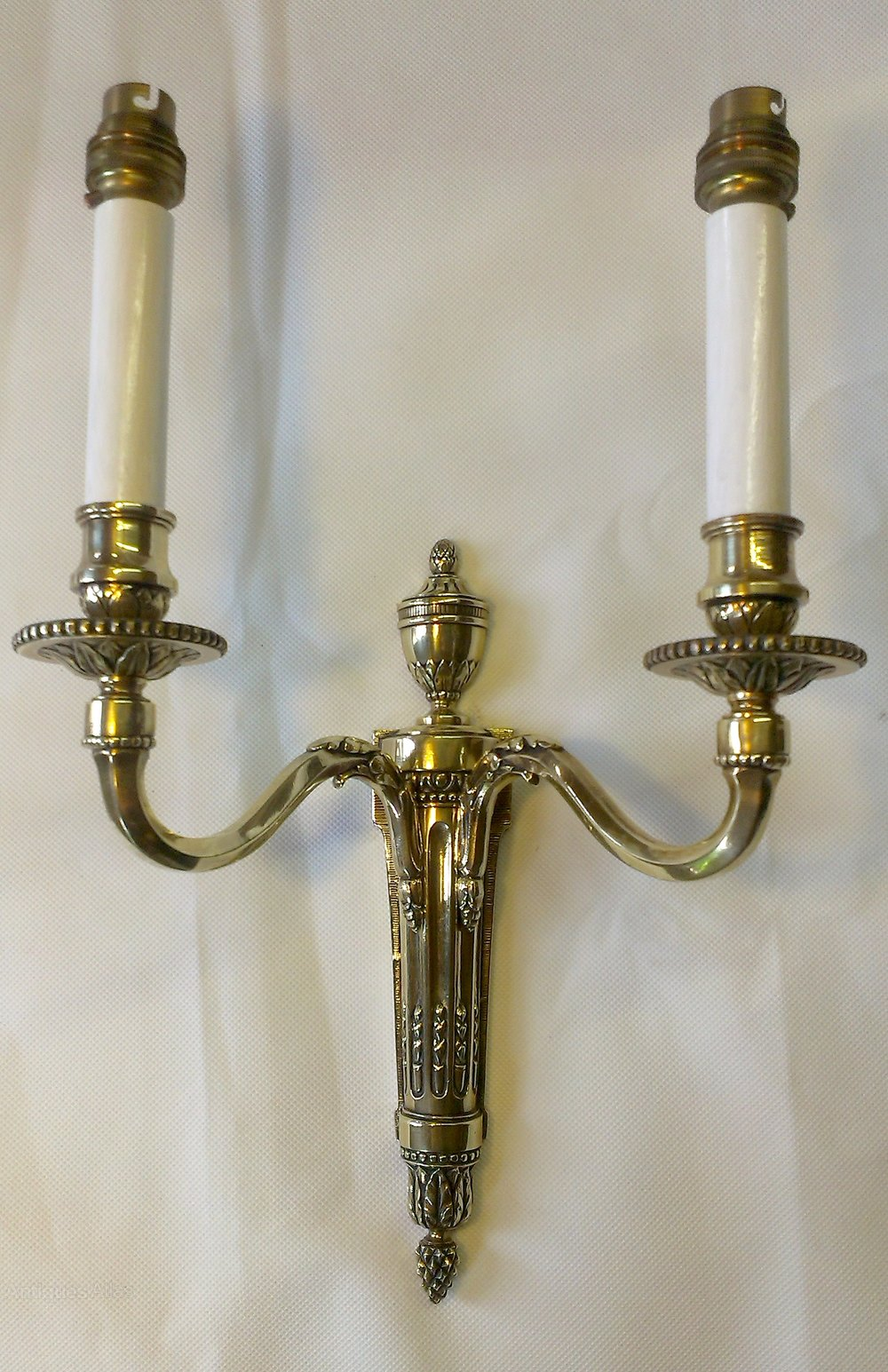 Old Brass Wall Sconces : Antiques Atlas - Pr Of Cast Brass Antique English Wall Sconces