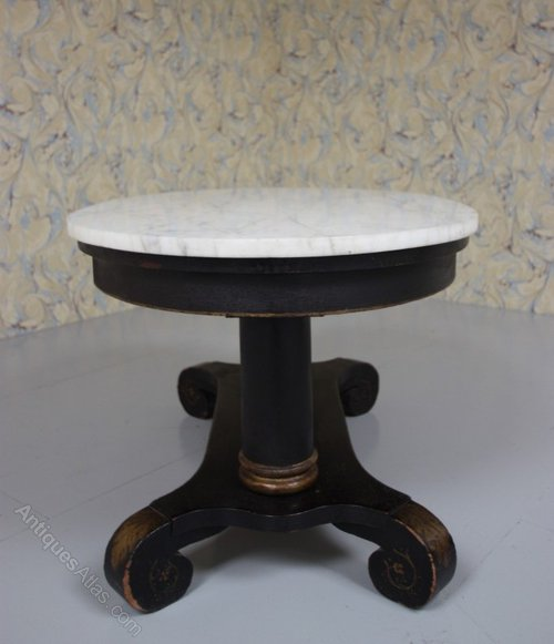 Marble Topped Gilt Coffee Table C 1920: 1920's Oval & Marble Topped Coffee Table