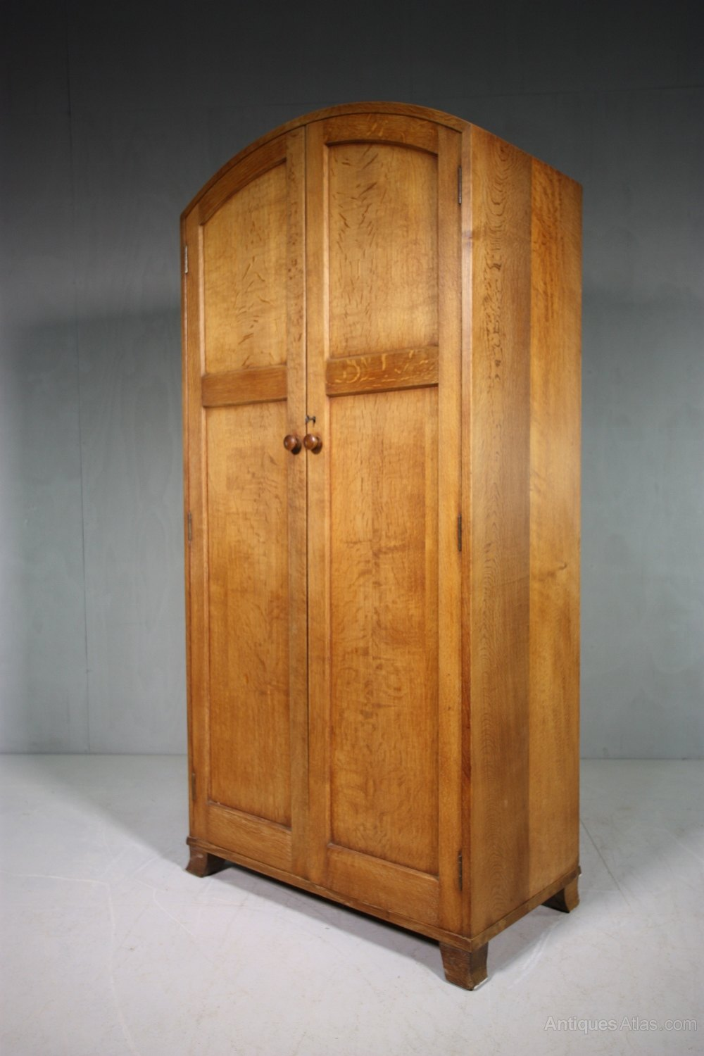 1930's Heals Oak Double Dome Top Wardrobe.