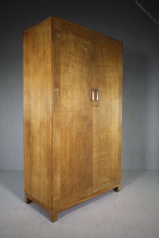 1930s Wardrobes: 1930's Heals Oak Double Wardrobe