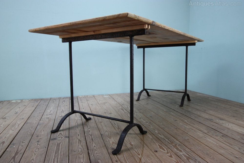 Photos. 19th Century Antique Iron Trestle Dining Tables.