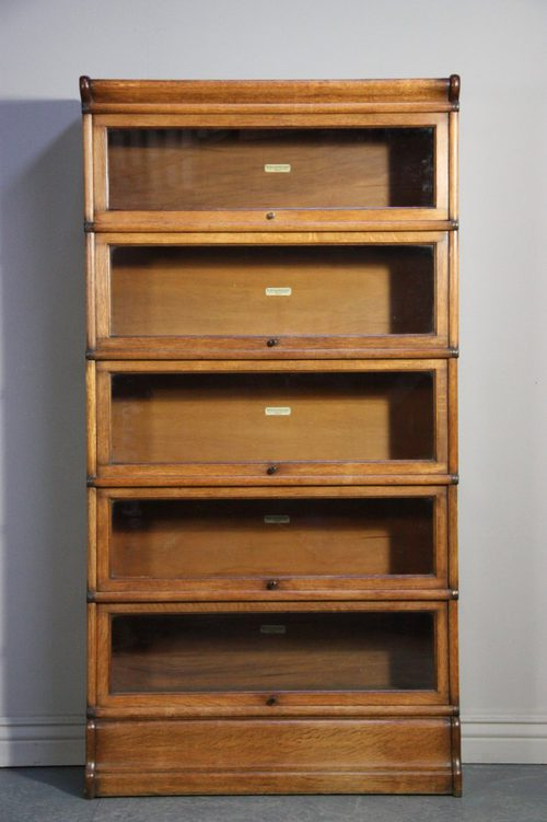 Antique Globe Wernicke Oak Stacking Bookcase