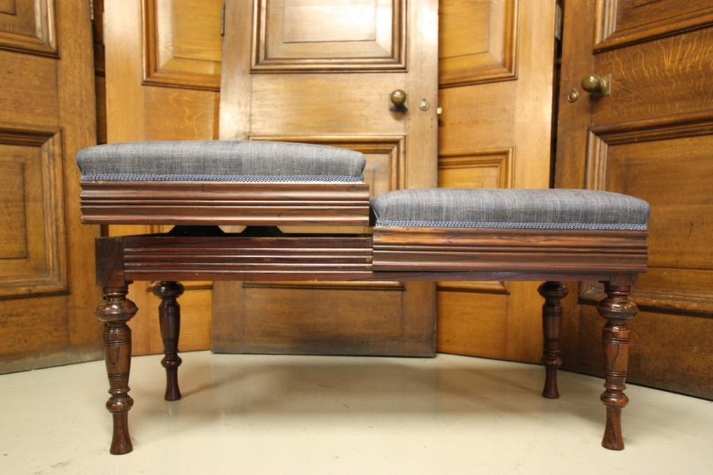 Antique Upholstered Walnut Duet Piano Stool Antiques Atlas