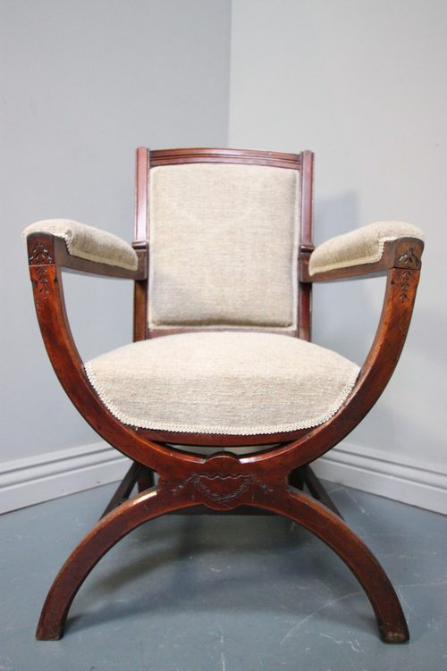 Antique Upholstered X Frame Walnut Armchair - Antiques Atlas
