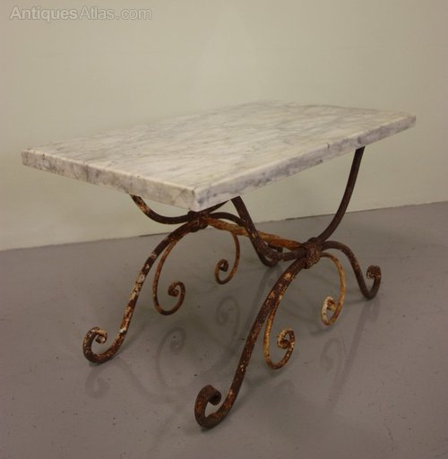 Antique wrought iron marble coffee table antiques atlas for Marble and wrought iron coffee table