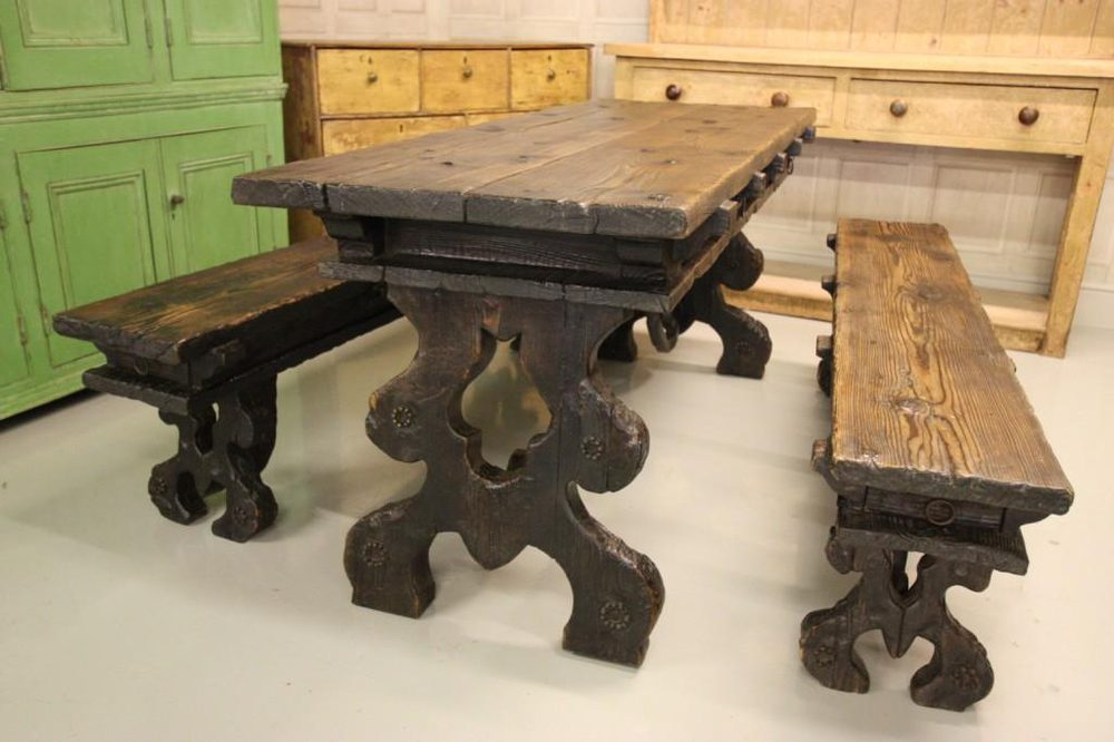 Edwardian Antique Pine Dining Table Amp Benches Antiques Atlas