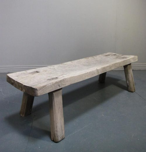 Bleached Antique Oak Pig Bench Coffee Table ...