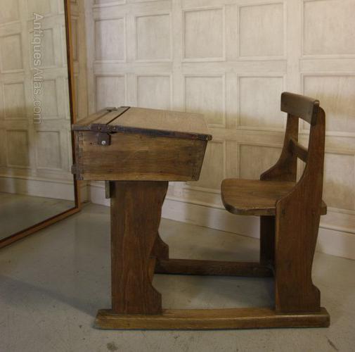 Edwardian Antique Oak Childs School Desk & Chair Antique Desks, Bureaus,  Davenports & Writing - Antique Oak School Desk Antique Furniture