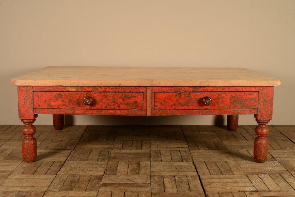 English Antique Coffee Table In Original Paint Antiques