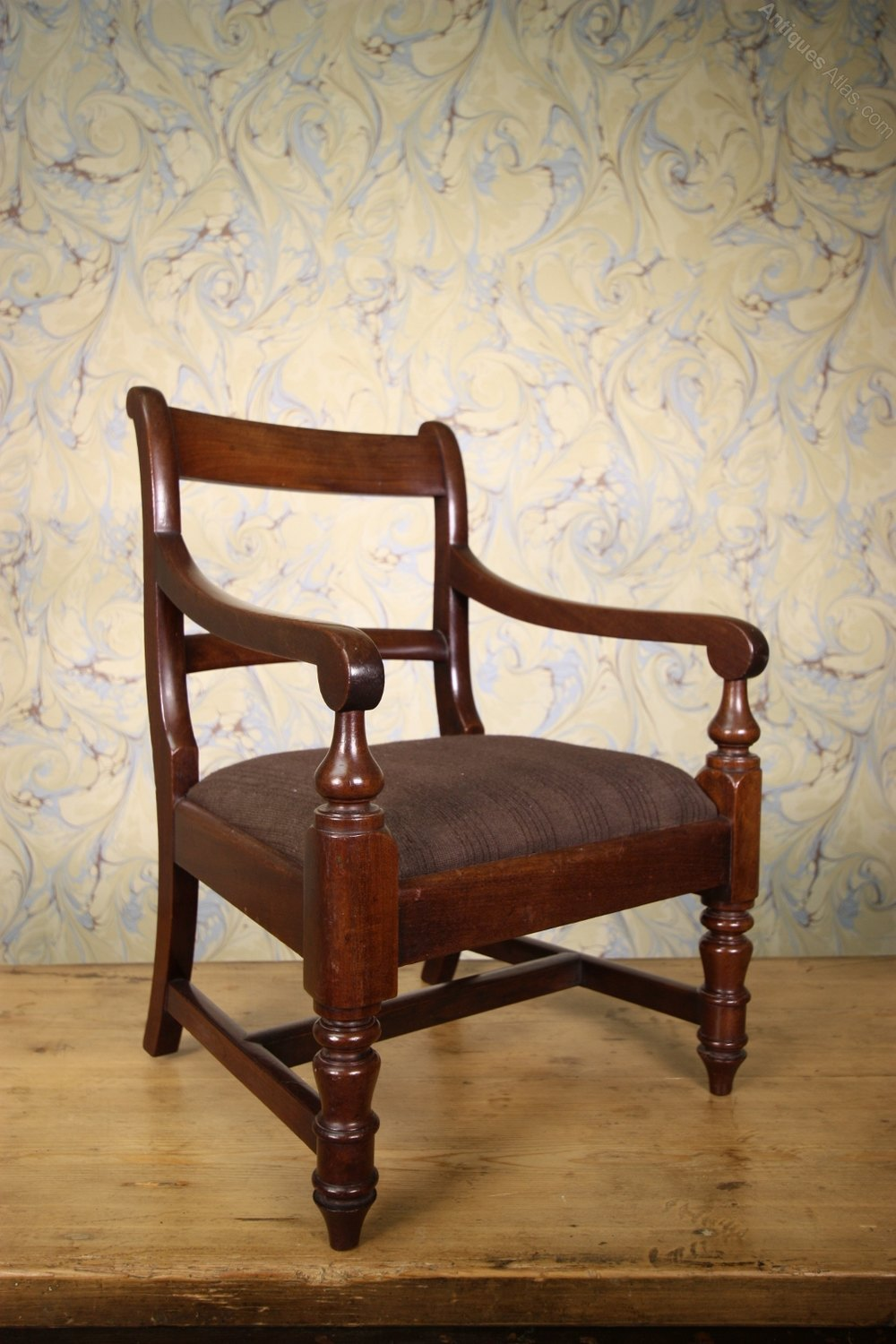 English Antique Mahogany Childs Carved Dining Chair