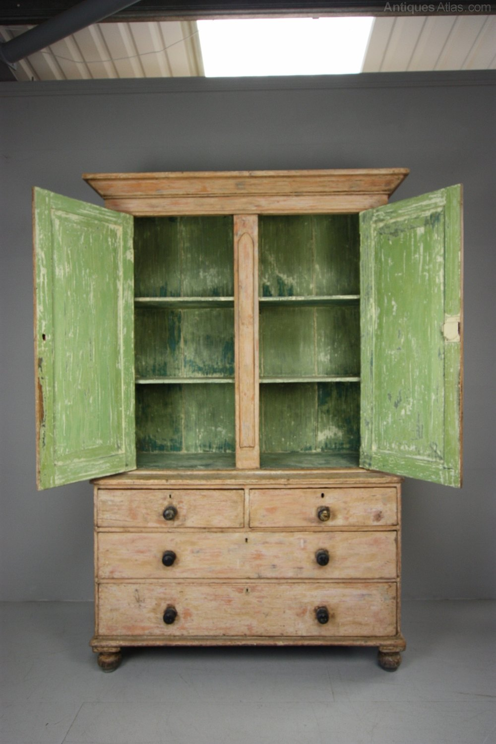English Antique Painted Pine Housemaids Cupboard