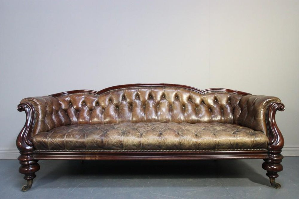 Handsome 19th C Antique Leather Amp Mahogany Sofa