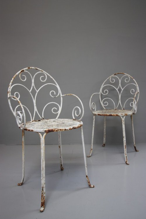 Pair of English Antique Iron Garden Chairs ...