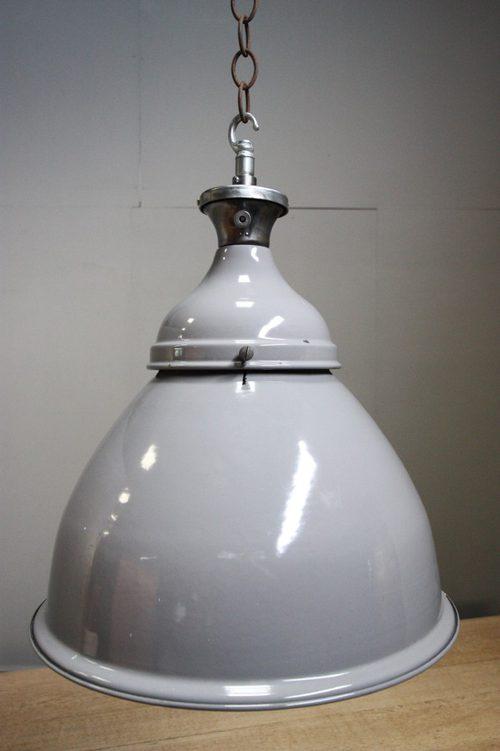 enamel lighting. pair of 1950s industrial enamel light fittings lighting