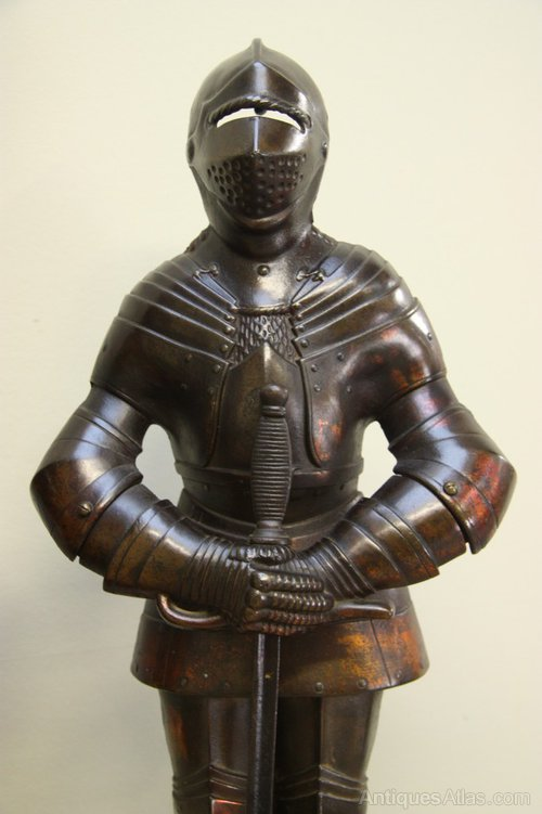 Banks For Sale >> Antiques Atlas - Pair Of Antique Iron Armour Fireside ...
