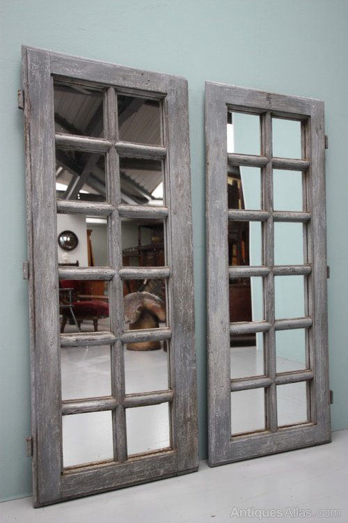 Antiques Atlas Pair Of Antique Mirror Doors In Oak Amp Paint