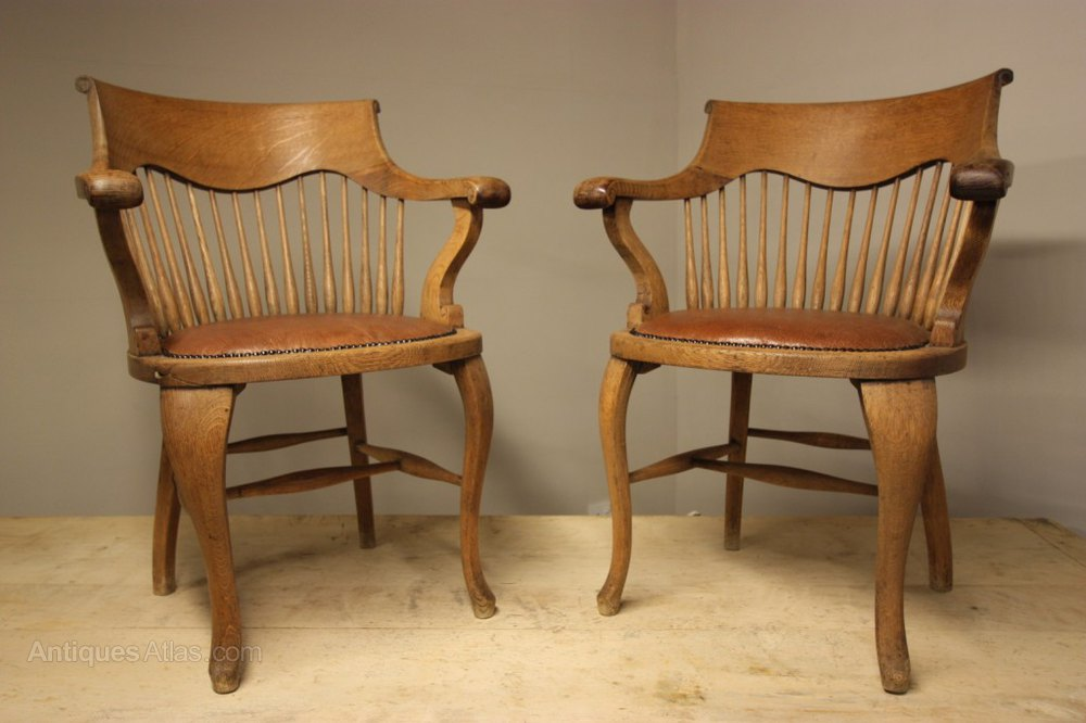 antique library armchairs. pair of antique oak desk/library armchairs library